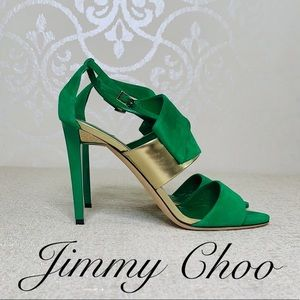 JIMMY CHOO SUEDE HEELS GREEN AND GOLD SIZE 39.5